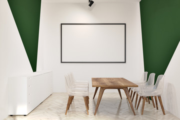 White and green office meeting room, whiteboard