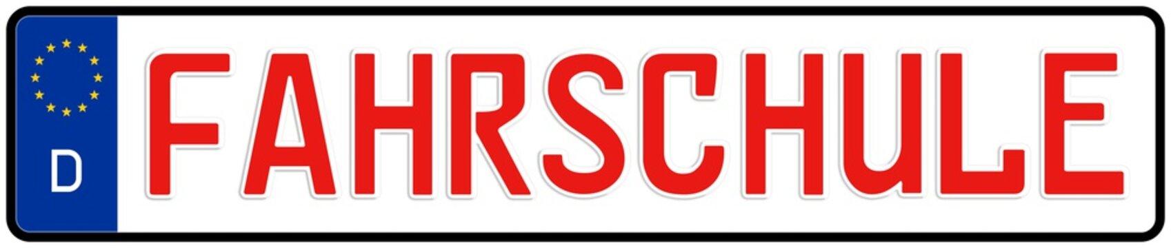 spkw41 SignPersonenKraftWagen spkw - Schrift: Fahrschule - Autokennzeichen / Nummernschild - (Original-Verhältnis 520 X 110 mm) - banner rot xxl g5917