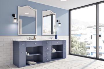 Blue and brick wall panoramic bathroom corner