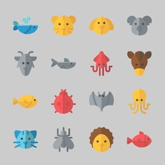 Icons about Animals with hedgehog, tiger, squid, dog, mosquito and cat