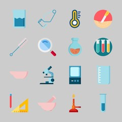Icons about Laboratory with measuring, surgery, flask, separator funnel, evaporatior dish and lab