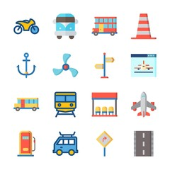 icon Transportation with gas station, road, direction sing, airplane and train