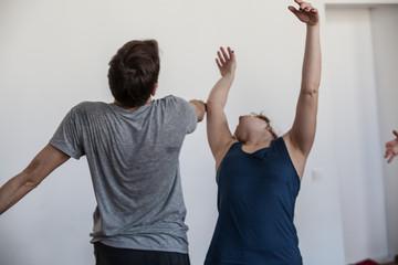 dance hand. dancers improvise on jam. dancers contact