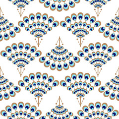 Peacock geometric wave fan seamless vector pattern. Elegant blue and gold detail repeat texture.