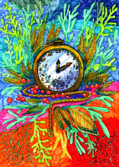Multicolored bright marker-painted clock with plants, red berries, chain