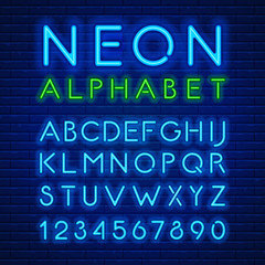 Neon latin alphabet and numbers