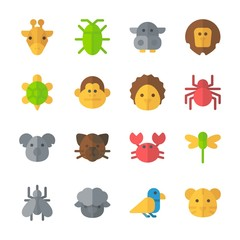 icon Animals with giraffe, crab, dragonfly, cockroach and mosquito