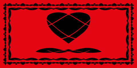 A set of frames for lovers. Rectangular frames and figures of the abstract heart and doodle in red and black.