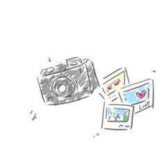 カメラと写真。落書き風ゆるいイラスト