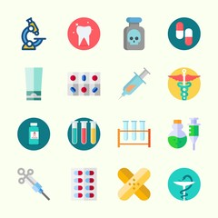 Icons about Medical with syringe, poison, cream, microscope, pharmacy and pill