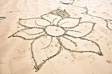 Drawing of Flower in Sand