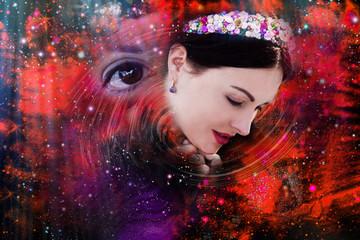 Woman, Universe, third eye