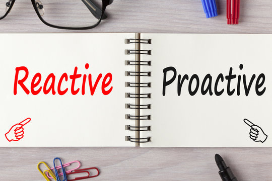 Reactive or proactive written on notebook concept