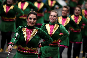 Marching band performs during St. Patrick's Day in Dublin