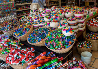 Playa Del Carmen, Mexico - May 17, 2017 - Colorful 5th Avenue Souvenir Shop in Playa Del Carmen, Mexico