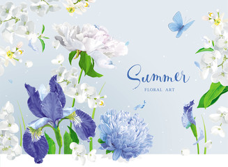 Blue summer flowers bouquet