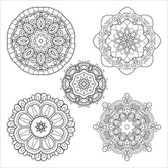 Vector Monochrome Set of Mandalas. Five Round Abstract Objects Isolated On White Background. Ethnic Decorative Element