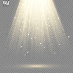 Fototapeta Light flare special effect with rays of light and magic sparkles. Glow transparent vector light effect. obraz