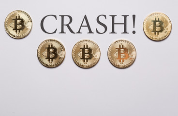 Bitcoin and cryptocurrencies crash concept