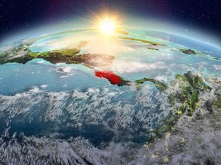 Costa Rica from space in sunrise