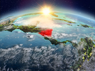 Nicaragua from space in sunrise