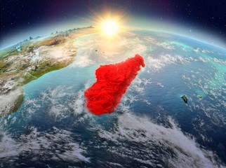Madagascar from space in sunrise