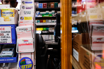 Powerball tickets display at a store in New York City