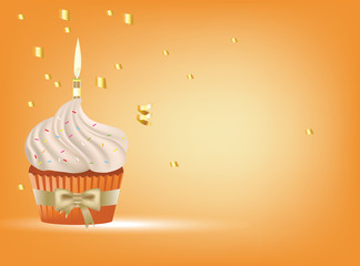 cupcake with white cream, golden bow and candle, vector