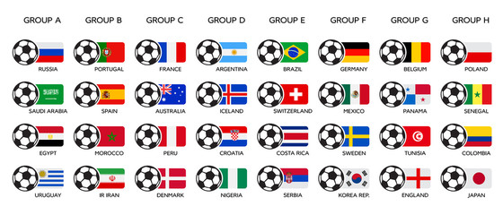 Soccer World Cup 2018. Russia 2018 world cup, team group and national flags. Set of national vector flags