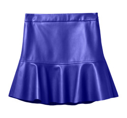 Navy blue leather skirt with flounce isolated on white