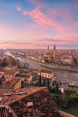 Verona, Veneto, Italy. Panoramic view of Verona from Piazzale Castel San Pietro