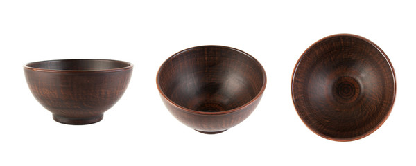 Brown ceramic bowl isolated on white