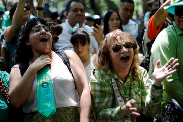 Women shout during the St Patrick's Day parade in Mexico City