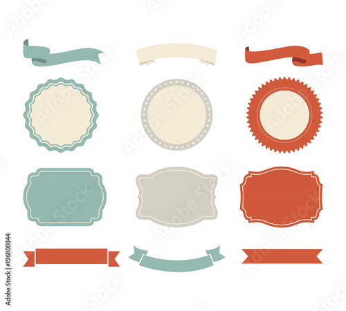 banner shape vector design ribbon and label tag vintage style