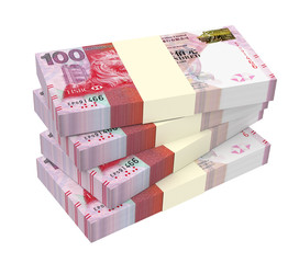 Hong Kong dollar bills stacks isolated on white with clipping path. 3D illustration.