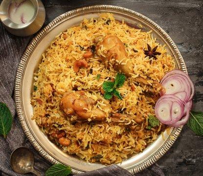 Chicken Kabsa - Homemade Arabian biryani  overhead view