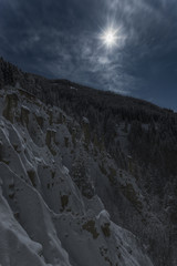 Perca/Percha, province of Bolzano, South Tyrol, Italy, Europe. Full moon night at the Earth Pyramids