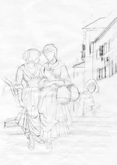 two female townspeople drawing