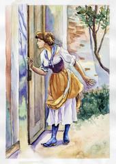 look through window watercolor