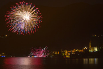 Varenna fireworks. Varenna, Lecco province, Lake Como, Lombardy, Italy; Europe