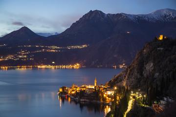 Landscape on Varenna and Lake Como. Varenna, Lake Como, Lecco province, Lombardy, Italy, Europe,