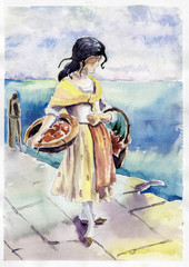 black-haired girl with baskets