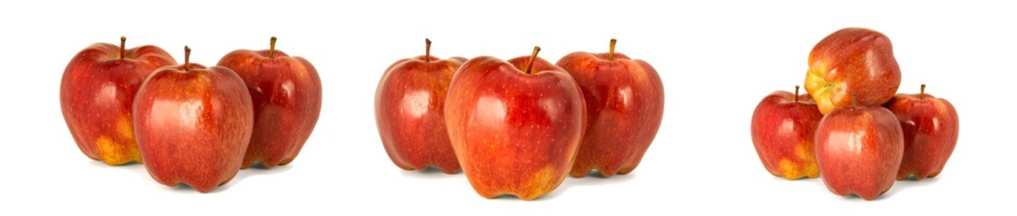 Variety of ripe red apples Red Chief isolate white background. Procurement under inscription and...