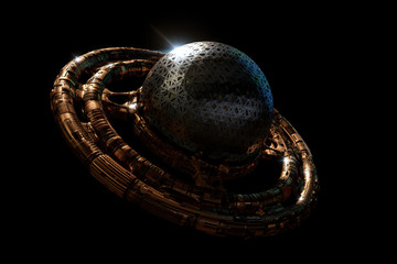 UFO, alien spaceship isolated on black background, flying saucer with steampunk design (3d science fiction illustration)