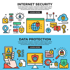 Internet security, data protection web banners set. Line art concepts. Creative modern flat design outline graphic elements, line icons, linear symbols, templates. Vector illustration