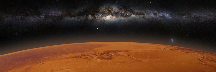 red planet Mars in natural colors with the beautiful Milky Way galaxy