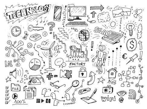 Technology hand drawn doodles