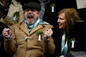 Actor Mark Hamill and his wife Marilou attend the St. Patrick's Day parade in Dublin