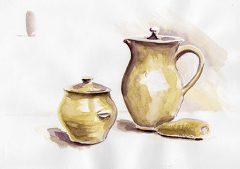 Watercolor pot 1