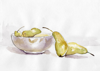 Still life pear watercolor